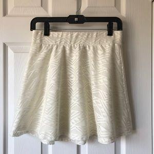 White Patterned Skater skirt